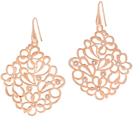 Bronze Floral Openwork Crystal Dangle Earrings by Bronzo Italia