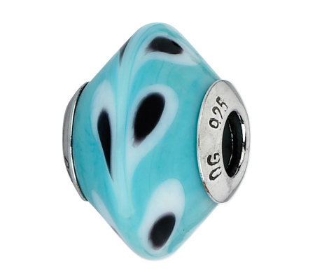 Prerogatives Blue/Black/White Raindrops ItalianMurano Bead