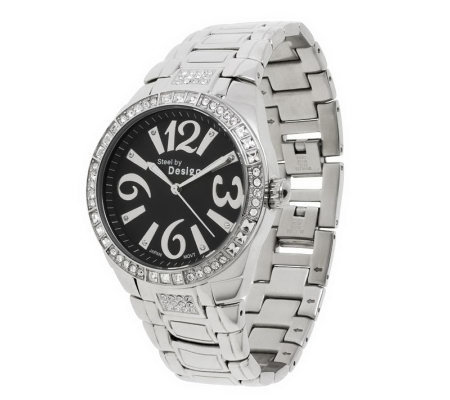 Stainless Steel Crystal Dial Panther Link Watch