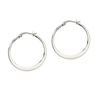 "Stainless Steel 1-1/4"" Tapered Hoop Earrings - J302183"