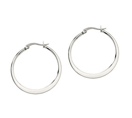 "Stainless Steel 1-1/4"" Tapered Hoop Earrings"