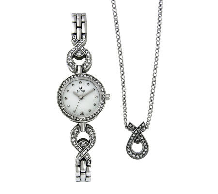 Bulova Stainless Watch and Pendant Set with Crystals