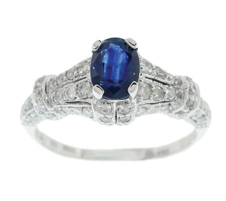 0.70 ct Sapphire & 1/2 ct tw Diamond Ring, 14KWhite Gold