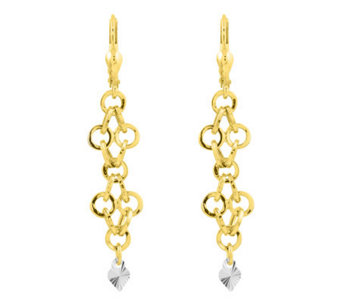 Two-tone Solid Dangle Heart Lever Back Earrings, 14K Gold - J305283