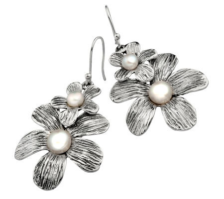 Hagit Gorali Cultured FW Pearl Double Flower Earrings, Sterl.