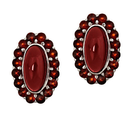 Oval Garnet Cabochon Earrings, Sterling