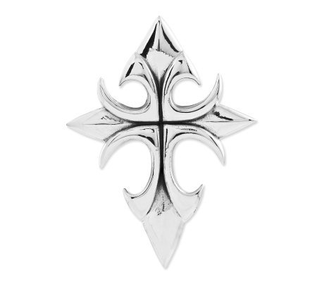 Sterling Polished Pointed Cross Pendant