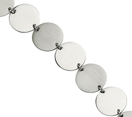 "Stainless Steel 7-1/2"" Polished & Brushed Circle Bracelet"
