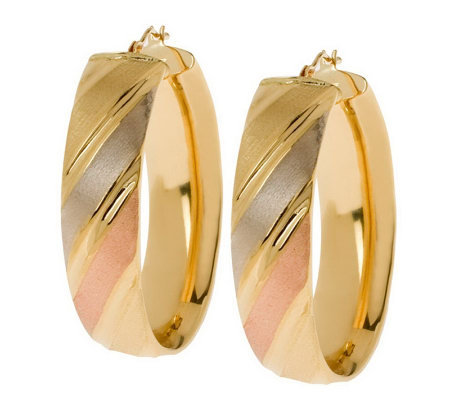 Arte d'Oro Oval Polished & Satin-Finish Hoop Earrings, 18K