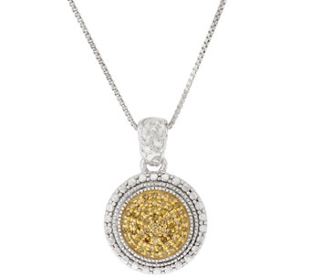 Color Diamond Round Pave' Pendant w/Chain Sterling, by Affinity - J317383