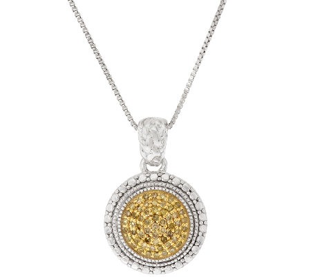 Color Diamond Round Pave' Pendant w/Chain Sterling, by Affinity