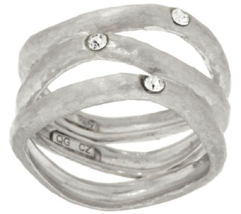 VicenzaSilver Sterling Diamonique Station Wavy 3-row Ring - J317483