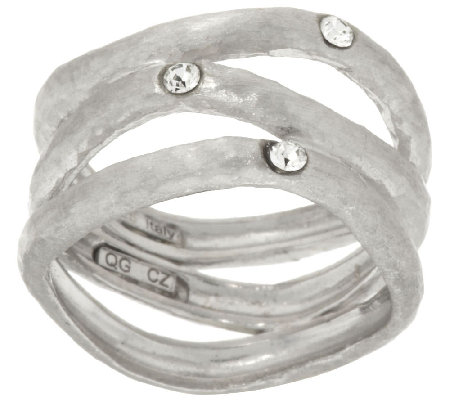 VicenzaSilver Sterling Diamonique Station Wavy 3-row Ring