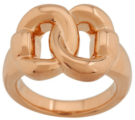 """As Is"" Oro Nuovo Polished Interlocking Status Link Ring, 14K Gold"