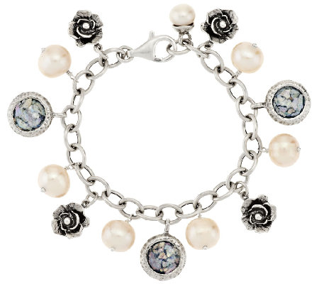 Or Paz Cultured Pearl & Roman Glass Sterling Charm Bracelet