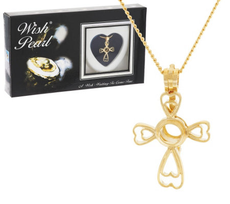 Wish Pearl Cultured Pearl Cross Pendant w/ Chain