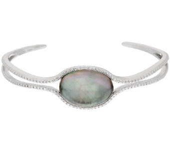 Sterling Silver Black Mother-of-Pearl Doublet Cuff by Silver Style - J320483