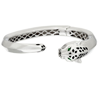 Stainless Steel Panther Head Oval Hinged Bangle - J321483