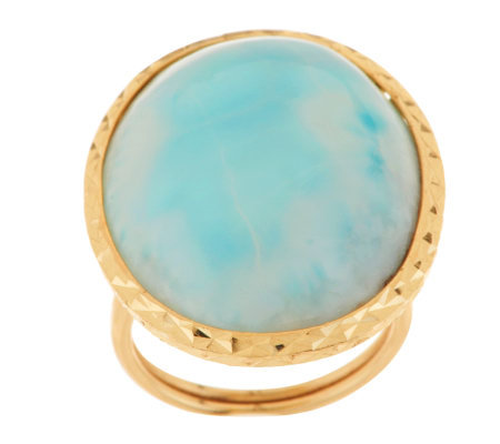 """As Is"" Larimar Bold Oval Ring, 14K Gold"