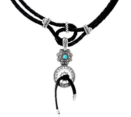 American West Sterl. Leather Necklace w/ Turquoise Enhancer