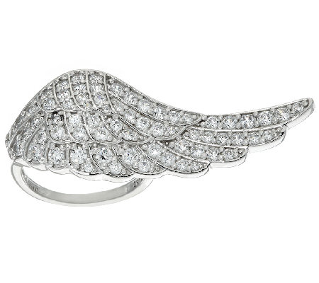 Diamonique Angel Wing Ring, Sterling