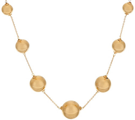 "Oro Nuovo 16"" Polished Graduated Bead Station Necklace, 14K"
