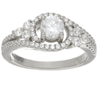 Diamonique 9/10 cttw Multi-stone Ring, Sterling or 14K Clad - J325983