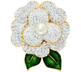 Joan Rivers Pave' Gardenia Pin with Enamel Leaves - J327783