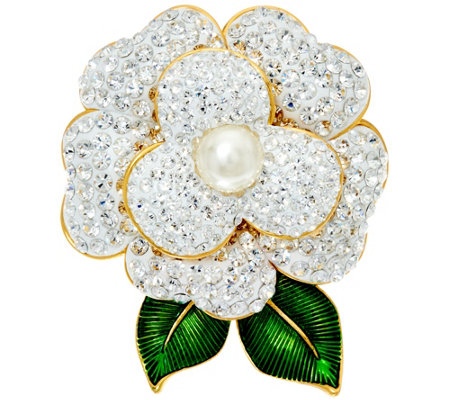 Joan Rivers Pave' Gardenia Pin with Enamel Leaves