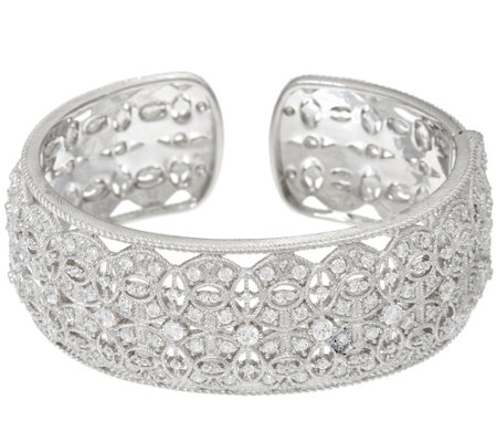 Judith Ripka Sterling 3.40 cttw Estate Diamonique Cuff Bracelet