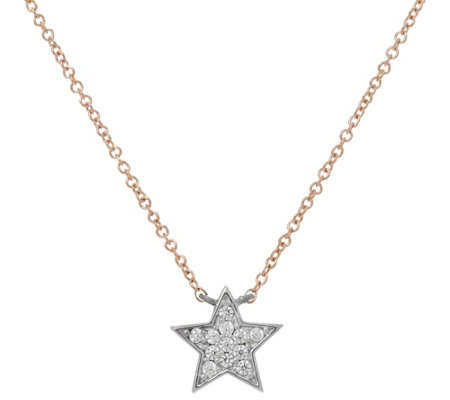 Diamonique Star Necklace, Sterling or 14K Clad