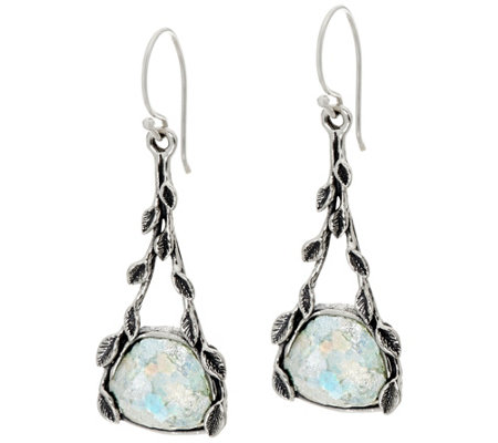 Sterling Silver and Roman Glass Vine Design Earrings by Or Paz