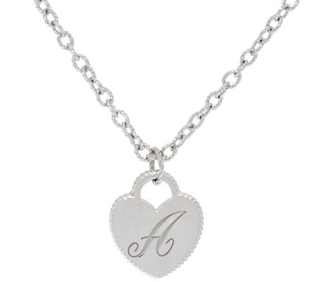 """As Is"" Judith Ripka Sterling Verona Initial Heart Charm Necklace"