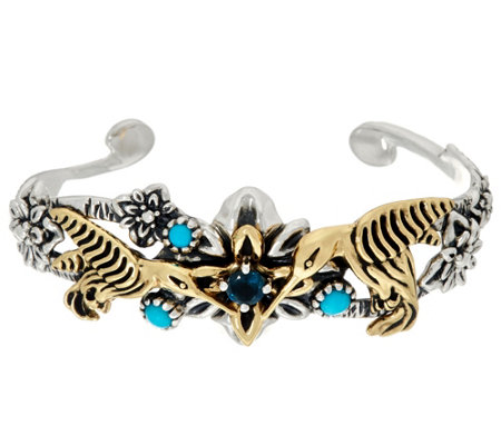Sterling Silver & Brass Hummingbird Turquoise Cuff by Fritz Casuse