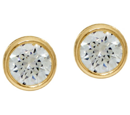 """As Is"" Diamonique 3.00 cttw Bezel Set Stud Earrings, 14K"