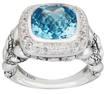 JAI Sterling Cushion Cut Blue Topaz Croco Texture Ring - J332783