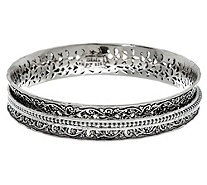 Or Paz Sterling Silver Textured Spinner Bangle 32.0g - J333183