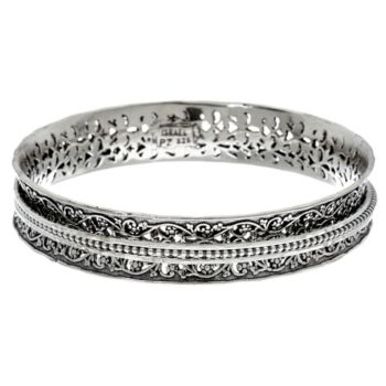 Sterling Silver Textured Spinner Bangle 32.0g by Or Paz