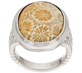 """As Is"" Fossilized Coral Bold Sterling Silver Ring - J333283"