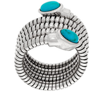 """As Is"" Bronze Turquoise Tubogas Wrap Ring by Bronzo Italia - J333383"