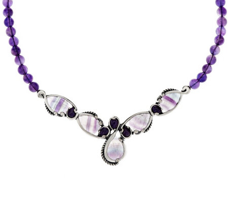 """As Is"" Carolyn Pollack Fluorite & Amethyst Bead Necklace"