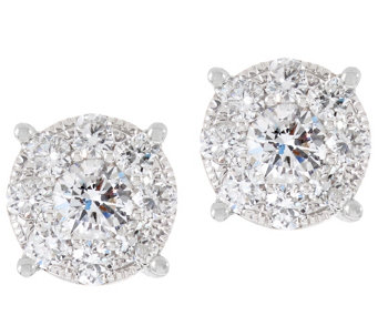 Round Diamond Cluster Stud Earrings, 14K, 1.00 cttw, by Affinity - J333683