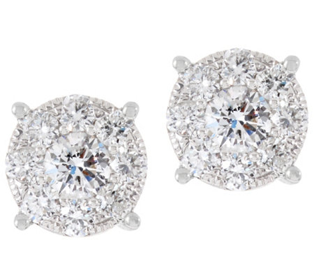 Round Diamond Cluster Stud Earrings, 14K, 1.00 cttw, by Affinity