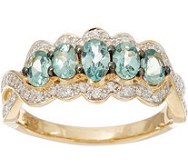 Alexandrite & Pave' Diamond 5-Stone Band Ring, 14K Gold 0.80 cttw - J335383