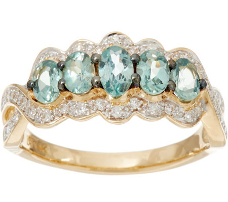 Alexandrite & Pave' Diamond 5-Stone Band Ring, 14K Gold 0.80 cttw