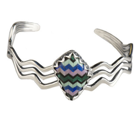 Carolyn Pollack Sterling Silver Tapestry Cuff Bracelet