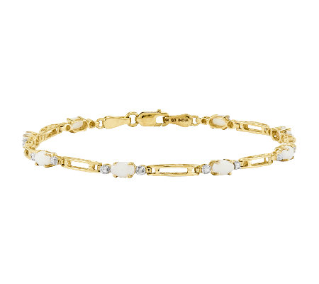 "7"" Opal Station Rectangle Link Tennis Bracelet,14K Gold"