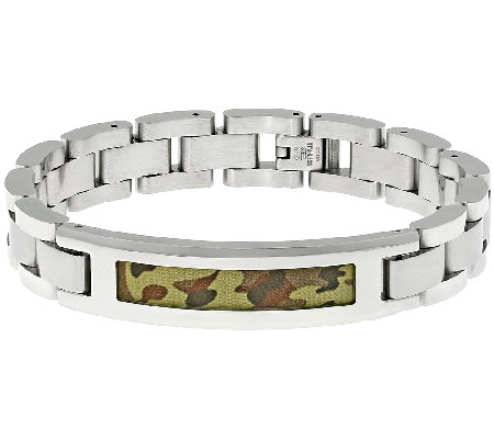Stainless Steel Identification Bracelet w/Camouflage Design
