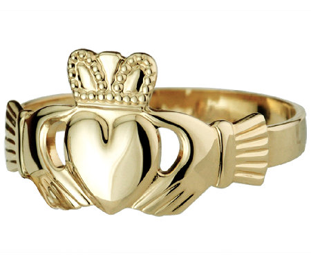 Solvar Deluxe Puffed Heart Claddagh Ring, 14K G old