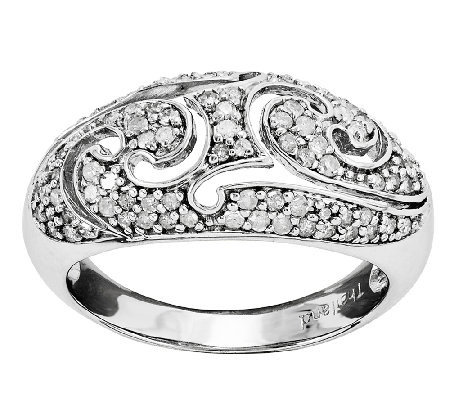 Sterling 1/2cttw Diamond Scroll Ring